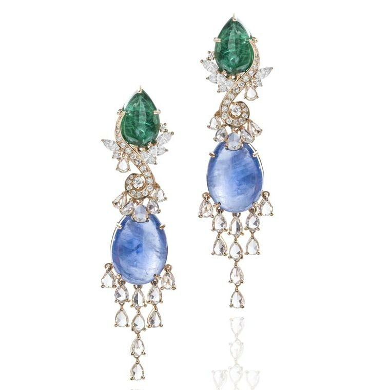 Farah Khan Le Jardin Exotique cabochon emerald, blue sapphire and diamond earrings in yellow gold