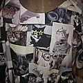 Robe RAYMONDE en coton imprimé chats et chiens - manches raglan courtes - longueur genoux - taille unique (5)