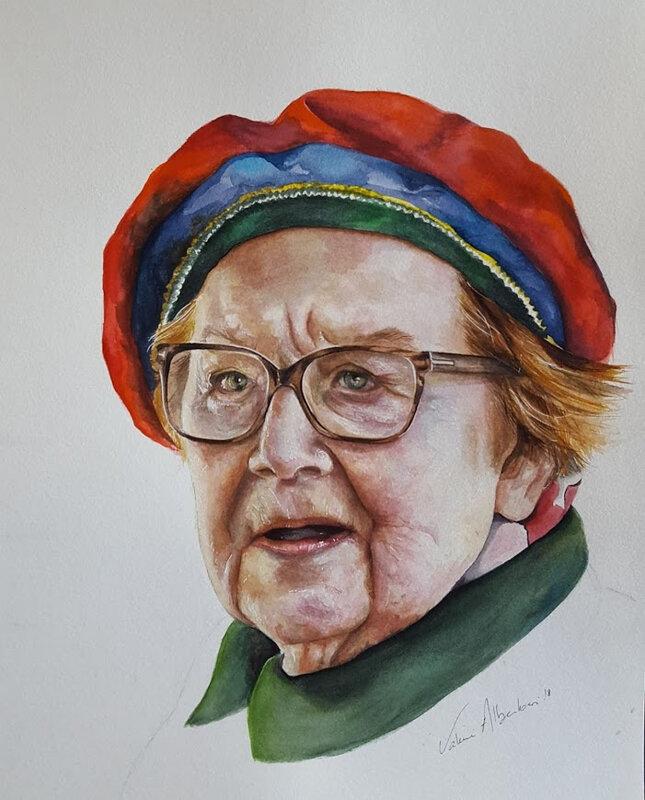 Portrait aquarelle vieille dame femme watercolor valérie Albertosi