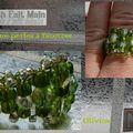 Bague perles à facettes Olivine