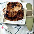 Concours 50 ans tupperware : terrine de crèpes à la chataigne et au sarrasin, compotée de poires au gingembre et crème de marron