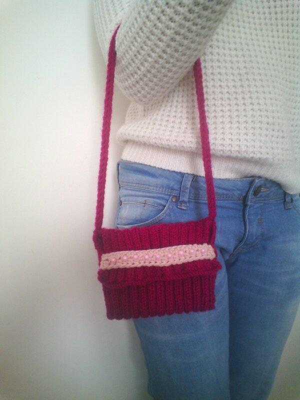 Petit sac framboise et rose perles 2