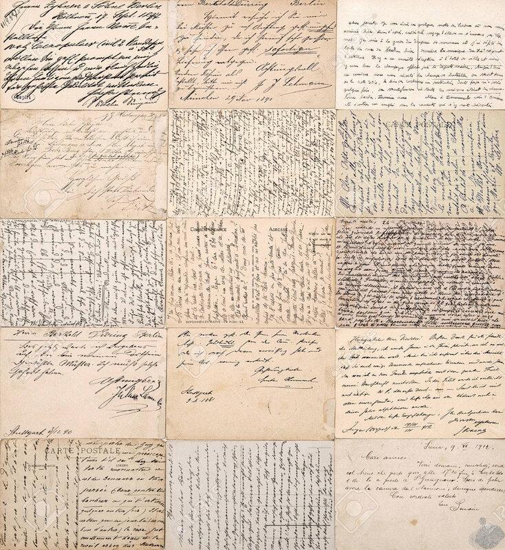 29903694-cartes-postales-anciennes-vieux-textes-définis-manuscrites-de-ca-1900-papiers-grunge-vintage-fond