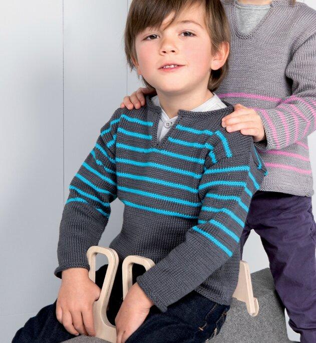 pull enfant rayé coton