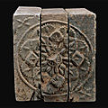 Chinese floral motif bricks, southern dynasties (5th-6th century), changzhou museum, jiangsu province.