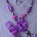 Collier et bracelet violet donuts