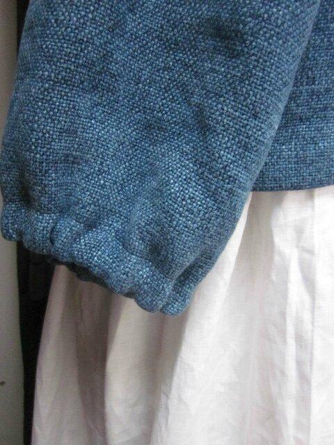 Veste BLANCHE en lin épais bleu façon jeans - fermée par un bouton de nacre (7)