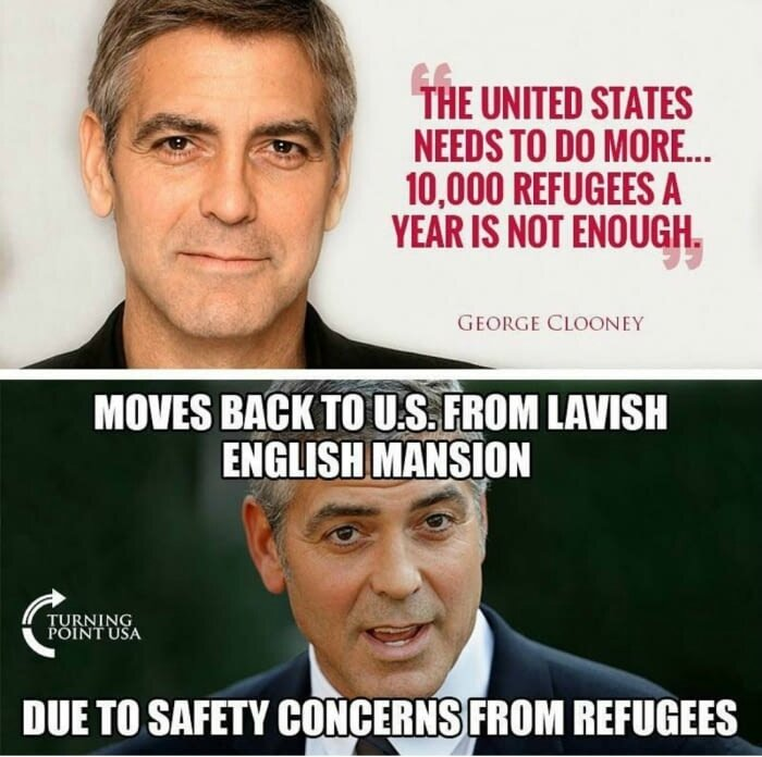 mur des cons george clooney migrants