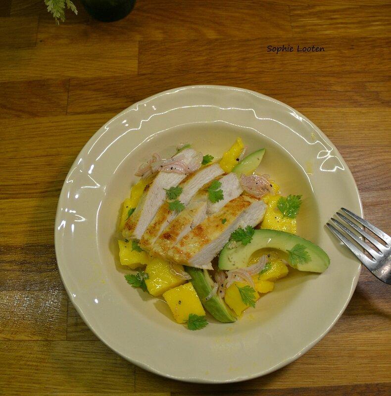 Salade poulet mangue avocat2