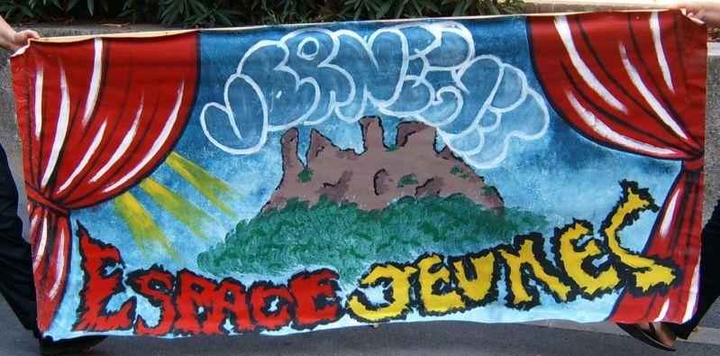 Bâche peinte Espace Jeunes Vernègues 2006 - Décor graph - Peinture acrylique - Animation jeunesse