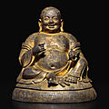 A gilt-bronze figure of maitreya, ming dynasty, 16th century