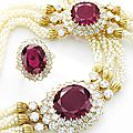 Impressive ruby, seed pearl and diamond parure