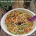 Salade de pâtes, légumes et thon