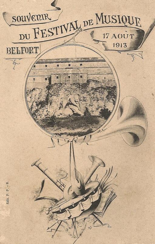 1913 08 17 Belfort CPA Festival Musique A Souvenir