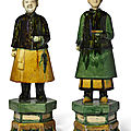 A pair of tileworks figures of male and female attendants, ming dynasty (1368-1644)