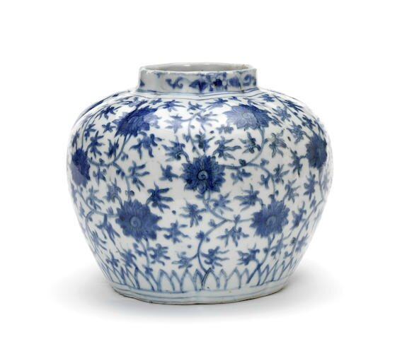 A blue and white lobed jar, Wanli period (1573-1619)
