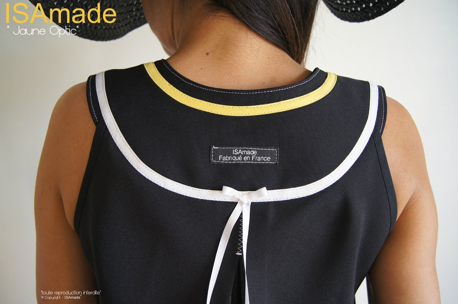 MOD 392C Robe Trapèze créateur originale bicolore noir Blanc jaune made in France Graphique motif imprimé Triangle Printemps 2016