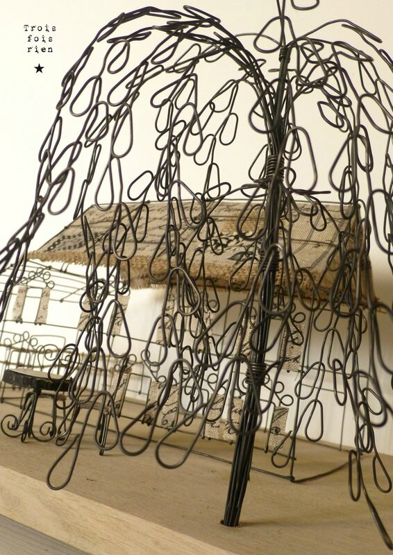There is no place like home, wire art, fil de fer, wire, wire tree, wire house, wire church, trois fois rien 7