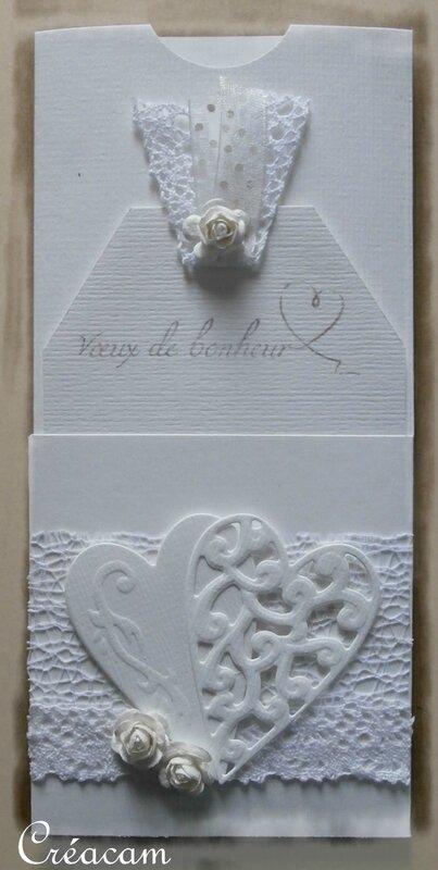 carte pochette mariage monochrome blanc