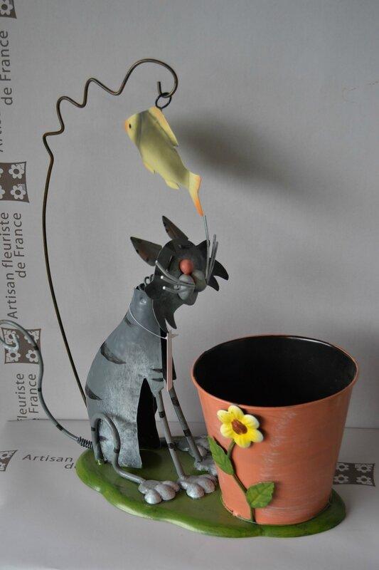 pot e métal chien et chat rigolo pour le jardin (4)