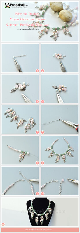 3-Mixed Gemstone Beads Cluster Pendants Necklace