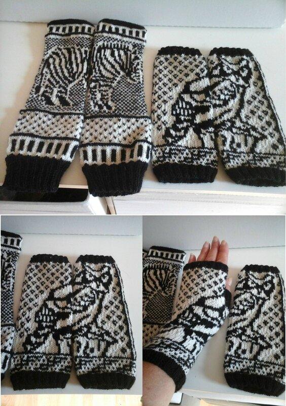 zebra owl mittens