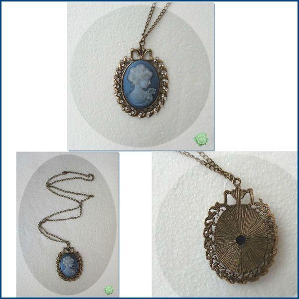 _ Pendentif Style Vintage Camée La Reine Bleue Métal Couleur Bronze