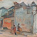Charles fouqueray (1869-1956), marchand ambulant, indochine. vers 1921