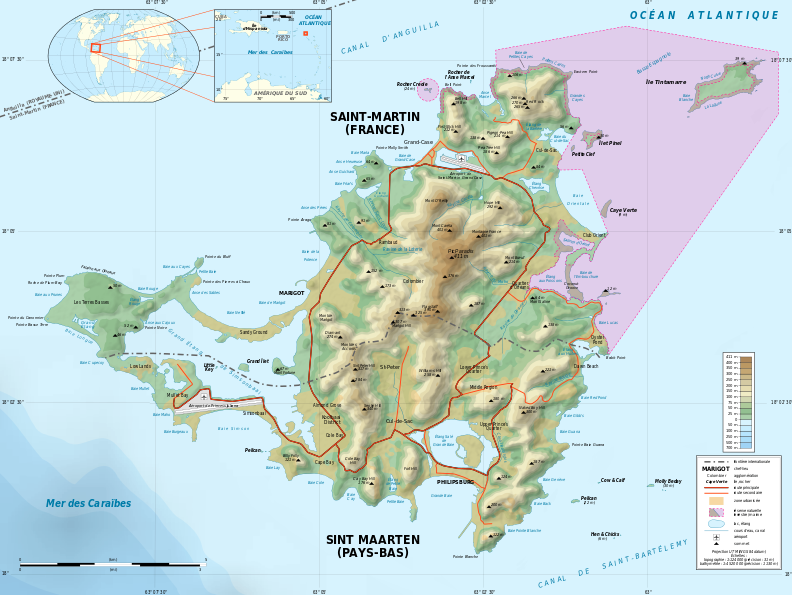 Saint-Martin Island topographic map-fr(auteur Eric Gaba – Wikimedia Commons user Sting)