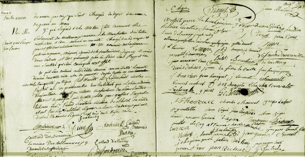 Le 23 juillet 1789 à Mamers : assemblée générale des habitants.