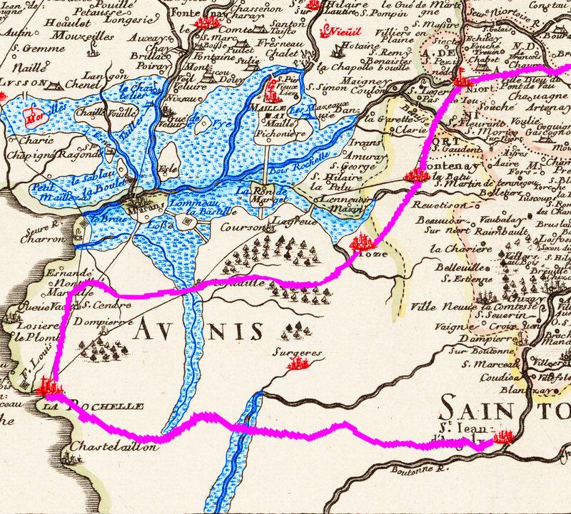 Carte Trajet d'Aliénor d'Aquitaine après les funérailles de Richard Coeur de Lion Niort La Rochelle Saintes