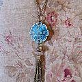 Sautoir 63 Turquoise et pompon