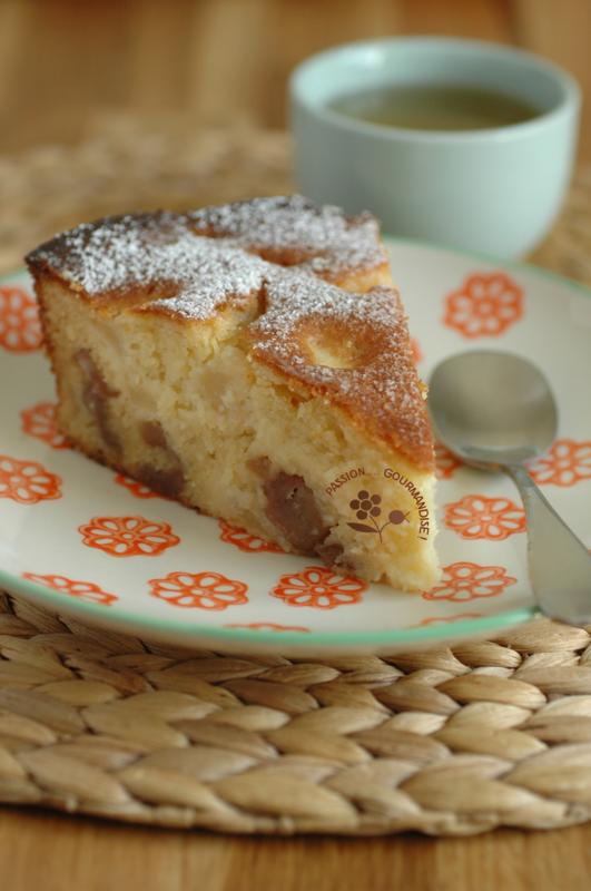 Gâteau moelleux chocolat blanc, Ricotta, poires & marrons glacés_2
