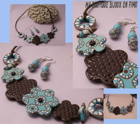 Collier turquoise marron original