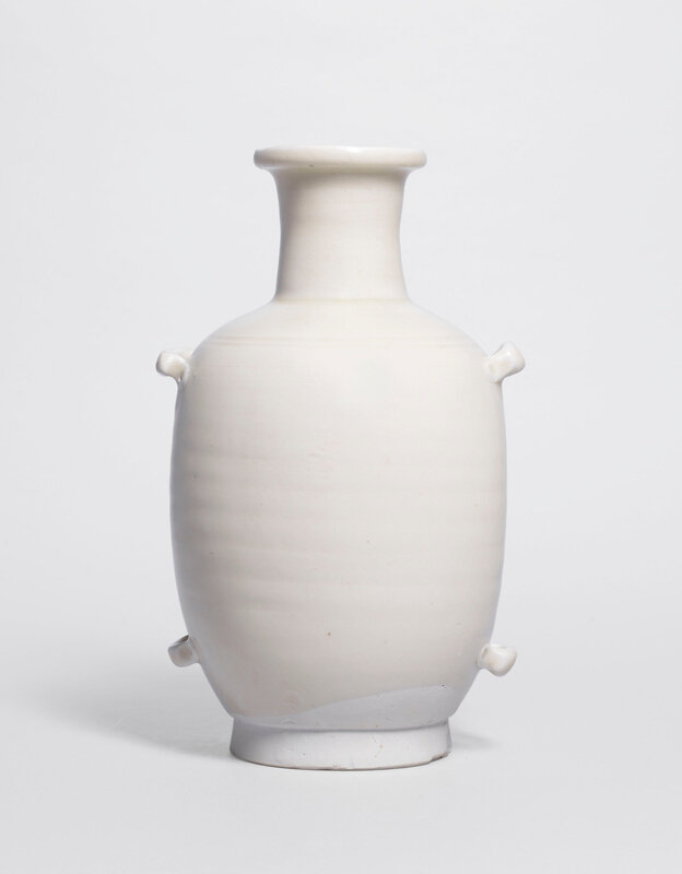 A rare Xing white-glazed our-handled flask, Five dynasties (907-960)