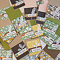 Cartes automnales avec la collection chemin de campagne