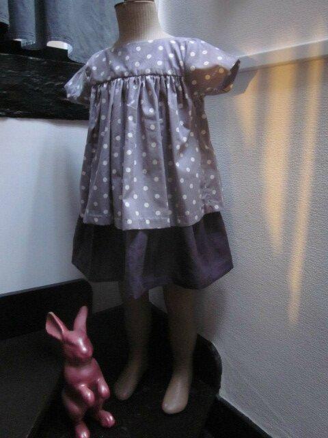 Jupe ZOELIE en lin prune et coton parme à pois blancs - plis sur le devant, fronces dans le dos, poches dans les coutures de côté et Blouse ZEPHIRINE en coton parme à pois blancs(4)
