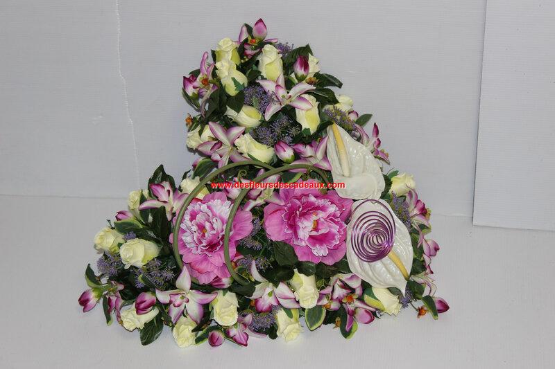 Coeur en pivoine rose pour deuil Toussaint (1)