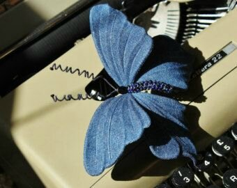 la broche papillon denim