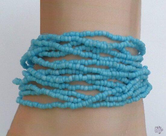 Bracelet Nala Multirang Tibétain Rocailles Bleu