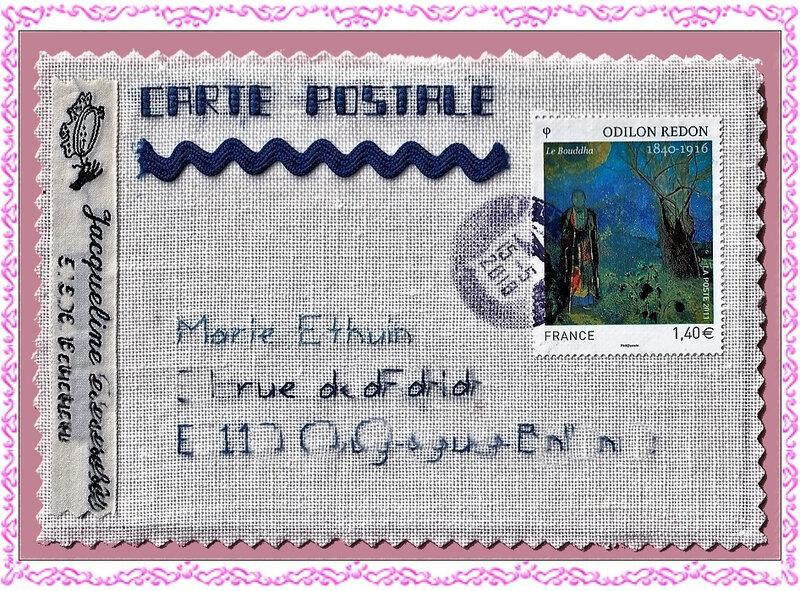 Carte Postale Brodée Jacqueline 51 Reçue le 16-05-2018 (1)