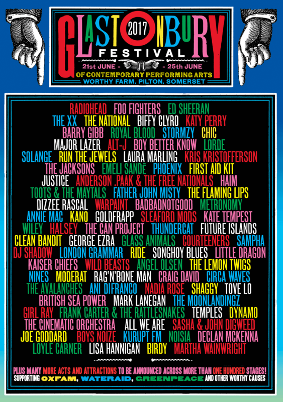 Glastonbury festival 2017 line-up poster affiche