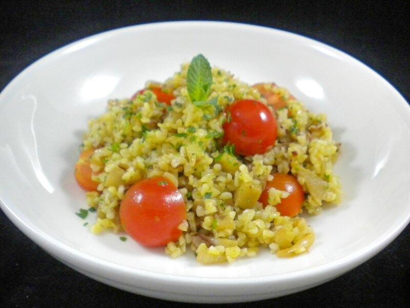Salade de boulgour, aubergine, tomates, 4