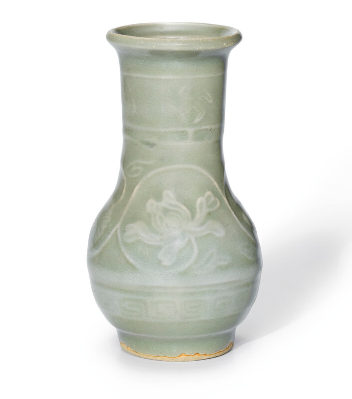 A Longquan celadon 'Lotus' vase, Song dynasty (960-1279)
