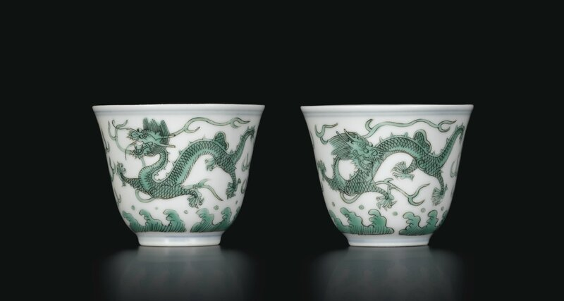 A pair of fine green enamelled 'Dragon' wine cups, Seal marks and period of Daoguang