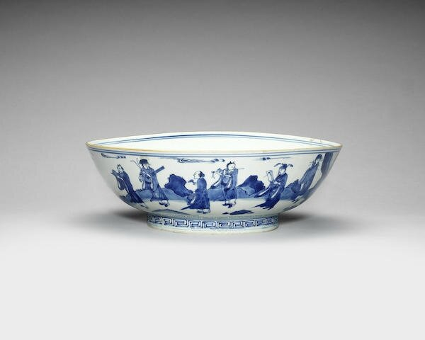 A blue and white 'Eight Immortals' bowl, Yutang Jiaqi four-character mark, Early 17th century