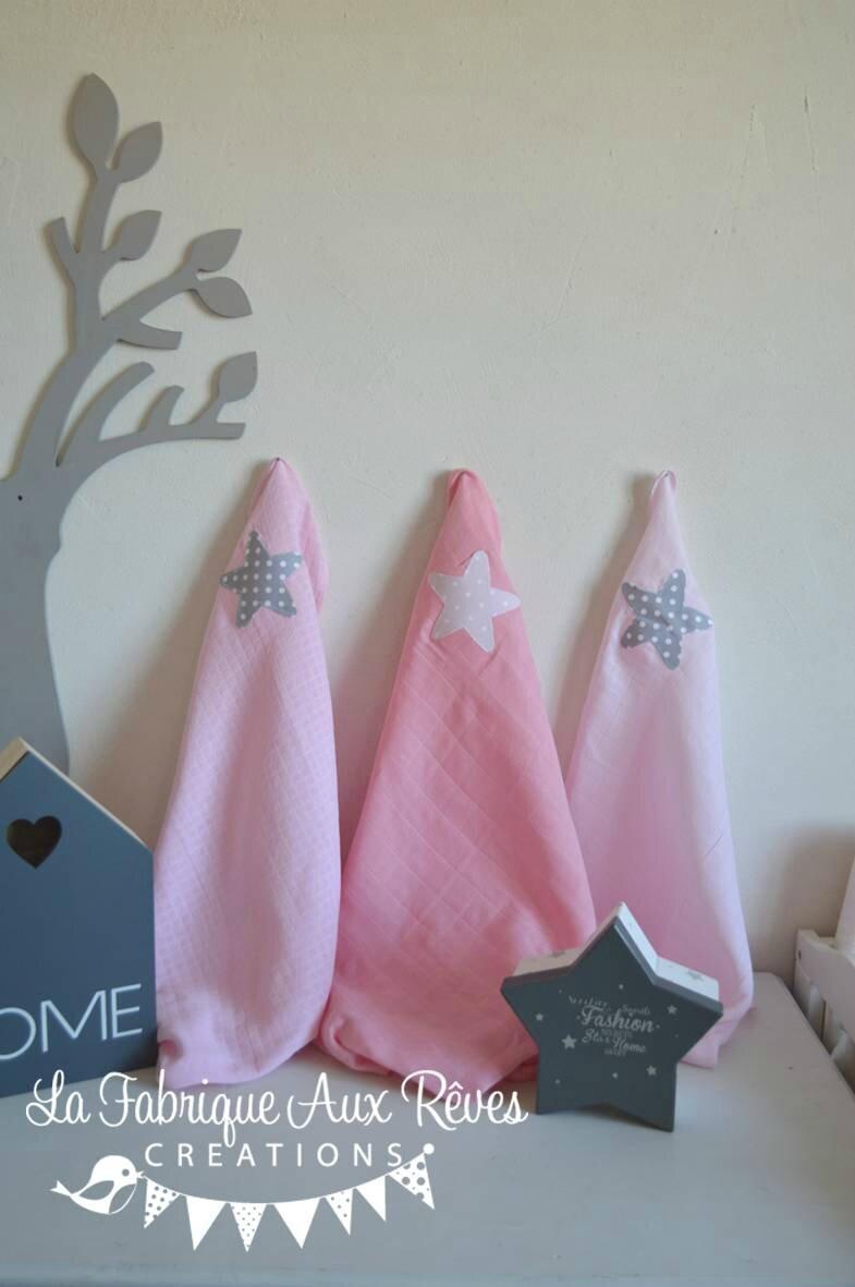 lot 3 langes coton bébé fille cadeau naissance étoiles dégradé rose pale rose poudré rose vif