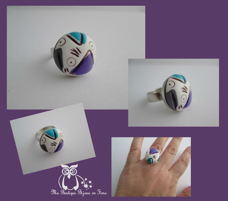 Bague tricot triangle turquoise violet