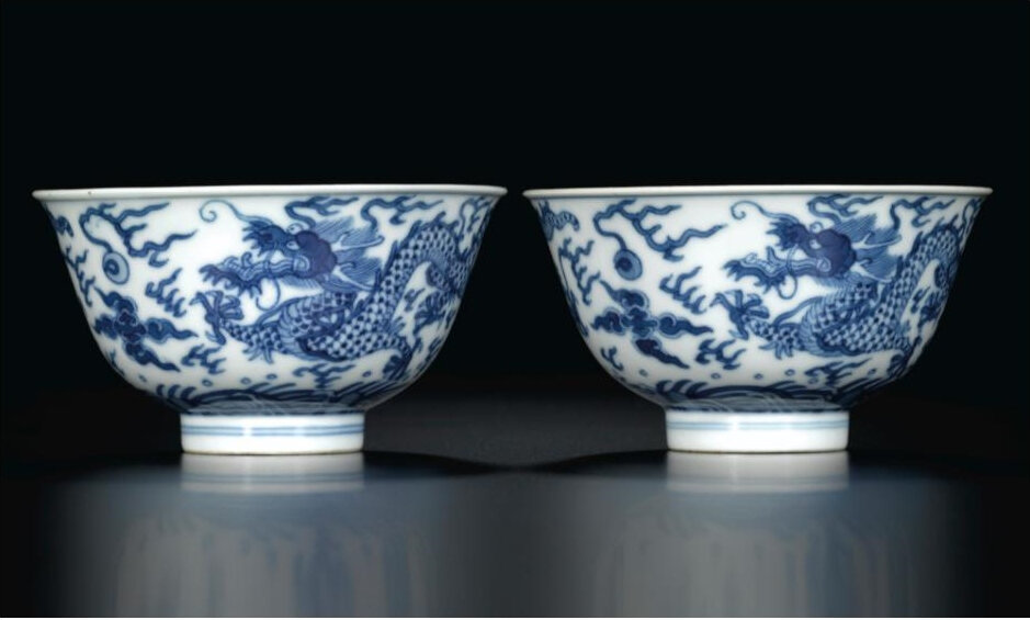 A pair of blue and white 'dragon' bowls, Seal marks and period of Daoguang (1821-1850)