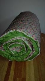 Plaid-Edredon en Liberty Fairford rose et vert, dos coton vert, passepoil rose 100x150 cm (2)